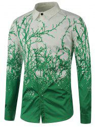 Turndown Collar Tree Branch Printed Shirt
