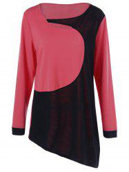 Color Block Plus Size Cut Out T-Shirt