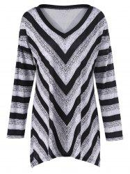 Plus Size Tunic Striped T-Shirt