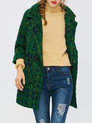 Wool Blend Plaid Coat with Pockets -