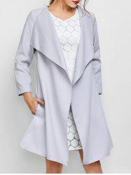 A Line Long Draped Trench Coat - GREY WHITE