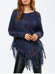 Batwing Sleeve Tassel Poncho Sweater