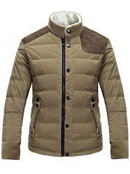Stand Collar Corduroy Panel Zip Up Padded Jacket