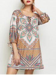 Printed Criss Cross Boho Tunic Dress