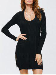 Side Slit Bodycon Ribbed Sweater Dress - Noir TAILLE MOYENNE