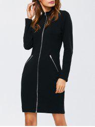 Zipped Front High Neck Long Sleeve Bodycon Dress - BLACK