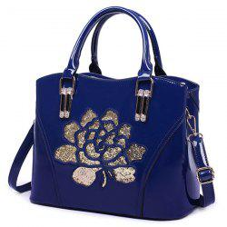 Sequin Flower Pantent Leather Handbag - BLUE