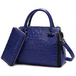Multi Zips Crocodile Embossed Handbag