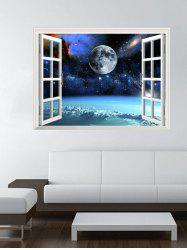 3D Universe Space Faux Window Wall Stickers Planet