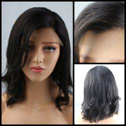 Medium Side Parting Shaggy Wavy Bob Lace Front Human Hair Wig