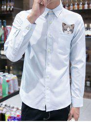 3D Cat Print Pocket Button Down Shirt