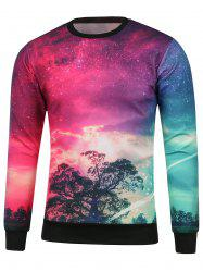 Crew Neck Tree Printed Galaxy Sweatshirt