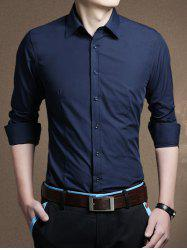 Long Sleeve Button Front Plain Shirt