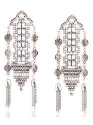 Vintage Rhinestone Chain Tassel Hollow Out Earrings - SILVER