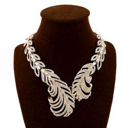 Vintage Rhinestone Feather Costume Necklace