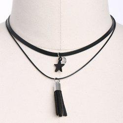 PU Leather Star Tassel Choker Necklace