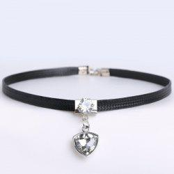 PU Leather Geometric Rhinestone Choker