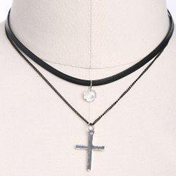 PU Leather Rhinestone Cross Pendant Choker Necklace