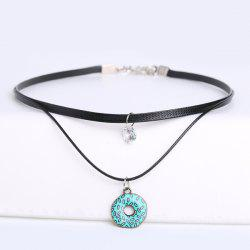 PU Leather Circle Rhinestone Choker Necklace