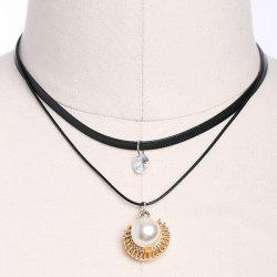 Faux Leather Pearl Rhinestone Choker Necklace