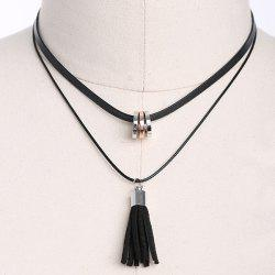 Faux Leather Tassel Circles Choker Necklace