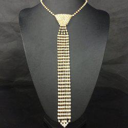 Vintage Rhinestone Geometric Accessory Tie Necklace