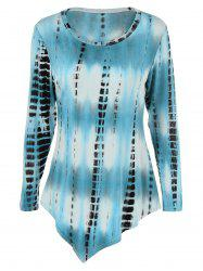 Tie-Dyed Plus Size Asymmetric T-Shirt