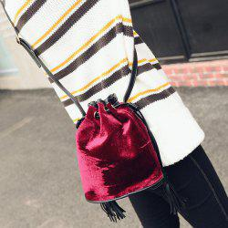 Velour Drawstring Tassel Bucket Bag