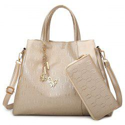 Embossed Handbag With Zip Around Wallet - GOLDEN