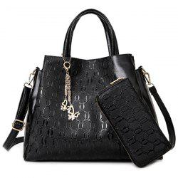Embossed Handbag With Zip Around Wallet - BLACK