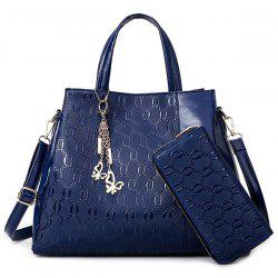 Embossed Handbag With Zip Around Wallet - DEEP BLUE