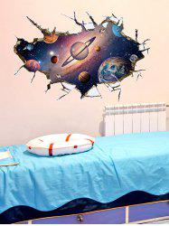 Wall Broken Design 3D Galaxy Planet Wall Stickers - COLORMIX