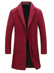 Turndown Collar Single Breasted Flocking Woolen Blends Coat
