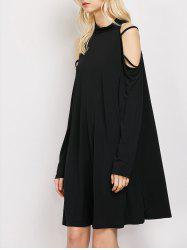 Cold Shoulder Strappy Loose Long Sleeve Dress - BLACK S