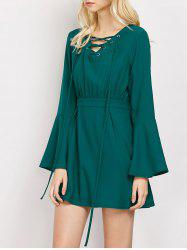 Lace-Up Flare Sleeve A-Line Dress