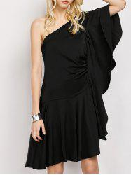 One Shoulder Asymmetrical Flounce Prom Dress - BLACK S