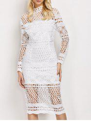 Sheer Long Sleeve Bodycon Fishnet Club Dress