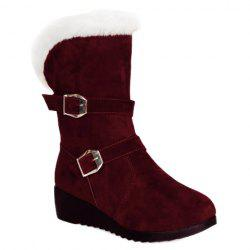Fur Trim Wedge Heel Mid Calf Boots - WINE RED