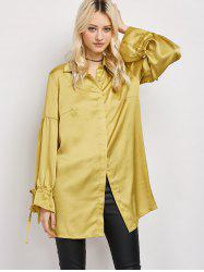 Satin Drop Shoulder Lantern Sleeve Longline Shirt
