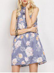 Stand Neck Sleeveless Floral Print Swing Dress