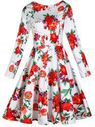 Vintage Floral Long Sleeve A Line Dress
