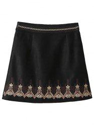 Embroidered Corduroy A-Line Skirt - BLACK