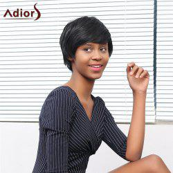 Adiors Short Oblique Bang Straight Fluffy Synthetic Wig