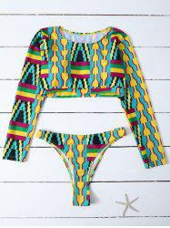 Round Neck Long Sleeve Tribal Print Tankini
