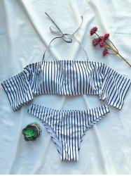 Striped Off The Shoulder Bikini Set - WHITE