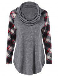 Cowl Neck Plaid Trim Curved T-Shirt