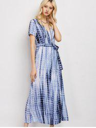 Plunge Neck Tie-Dyed Wrap Maxi Dress