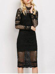 Long Sleeve Sheer Fishnet Lace Party Dress