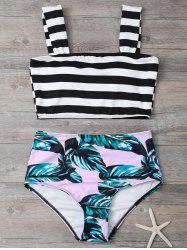 Tropical Print High Waisted Bikini with Crop Top - COLORMIX