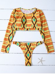 Diamond Print Long Sleeve Bathing Suit